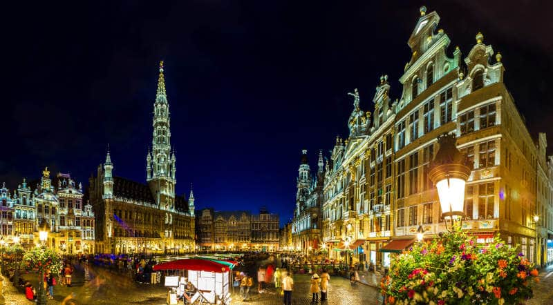 Panorama of the Grand Place at night in Brussels
