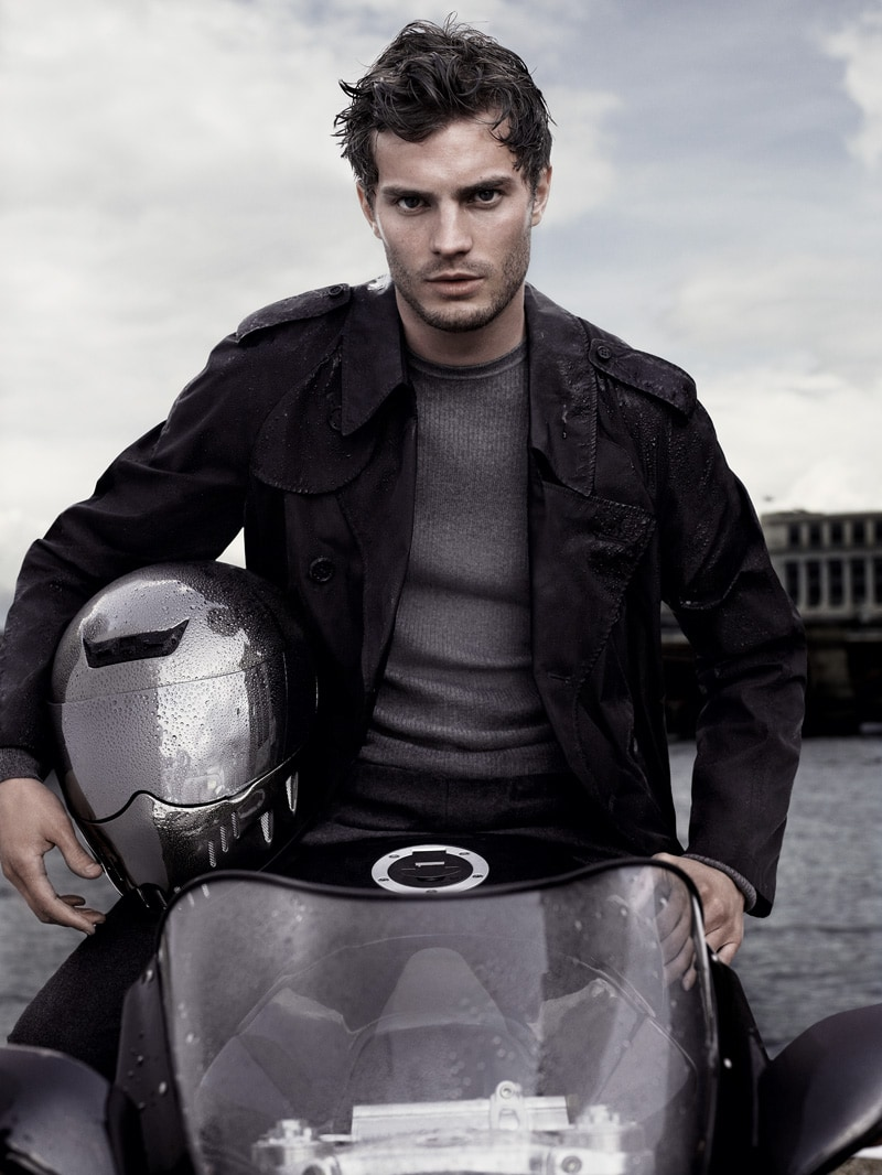 Jamie Doran on a motorcycle for Aquascutum advert photographed by Mario Sorrenti with Rosehip