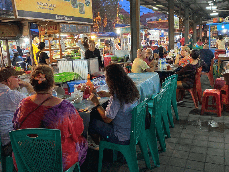 Communal tables at the night markets Sanur