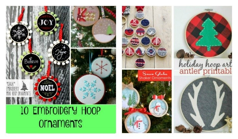Second Chance to Dream: 10 Embroidery Hoop Ornaments #ornaments #Christmas