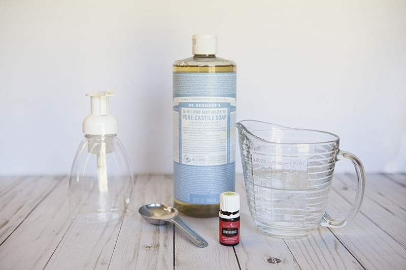 Make this DIY foaming hand soap with three simple ingredients. Once you see how easy it is you won't bother with comparing products in the store. #naturalcleaning #handsoap #essentialoils #soaprecipes #diyproject #greenliving #greencleaning