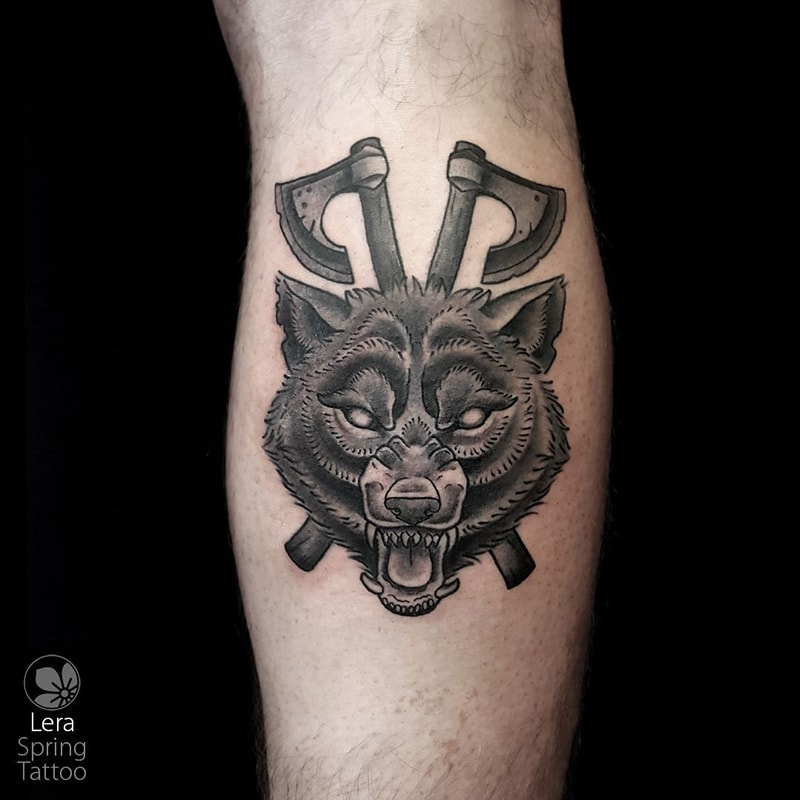 wolf tattoo by Lera Torgovitsky