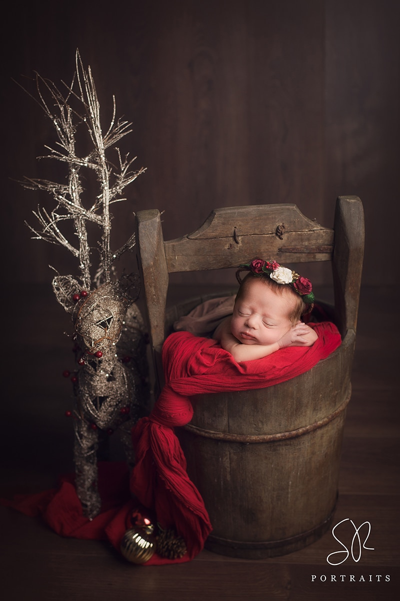 Newborn Girl Christmas props photography Nottinghamshire