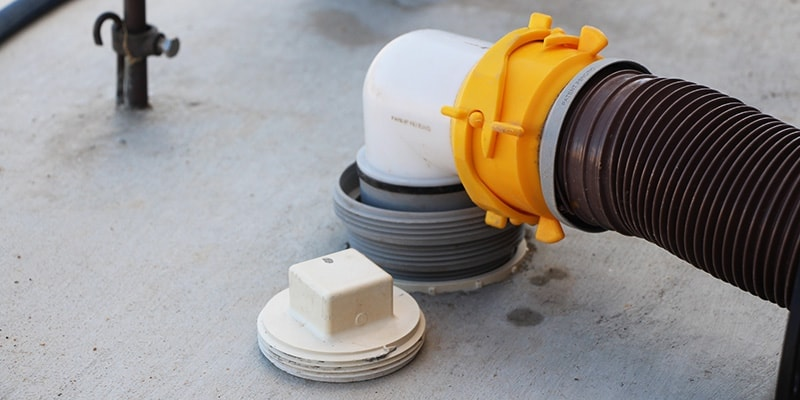 4-in-1 elbows srew into RV park and camground sewers for secure and odorless connections.