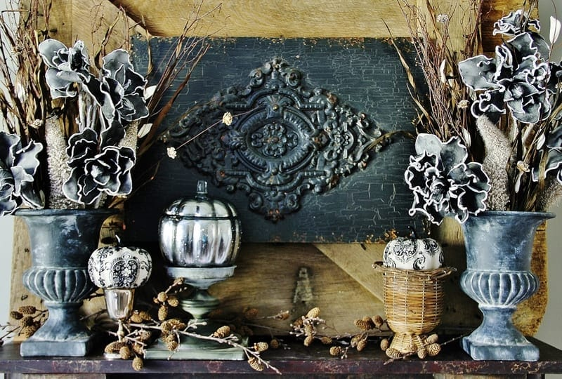 This Halloween inspired fall mantel was fun to create