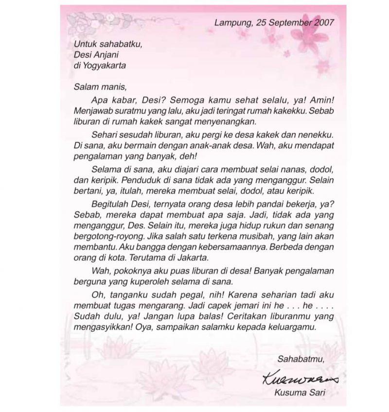 Contoh surat pribadi untuk sahabat