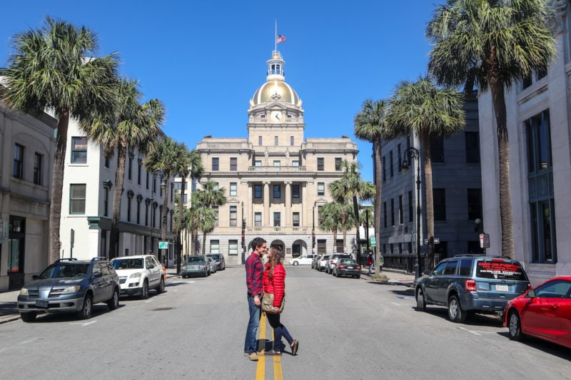 Take a postcard photo in front of the City Hall of Savannah