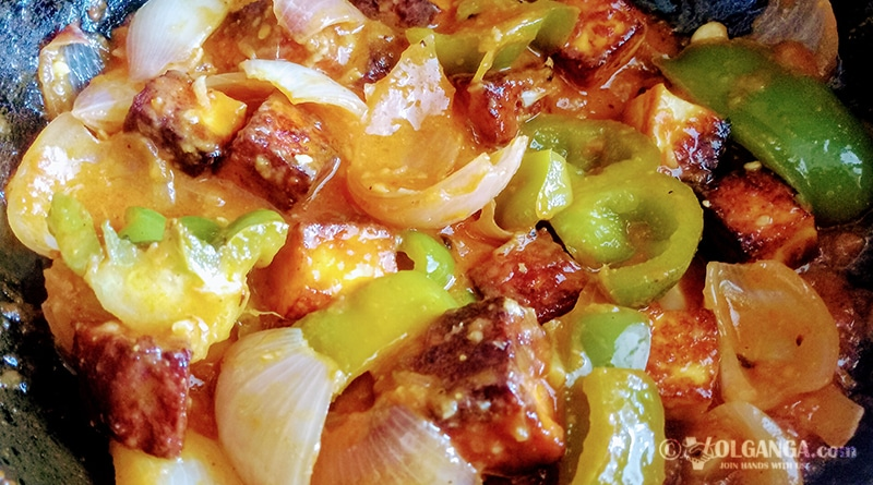 Savoury chilli paneer (recipe)