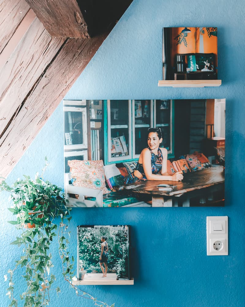 Wand DIY meinfoto als Leinwandbild und Bildhalter aus Holz