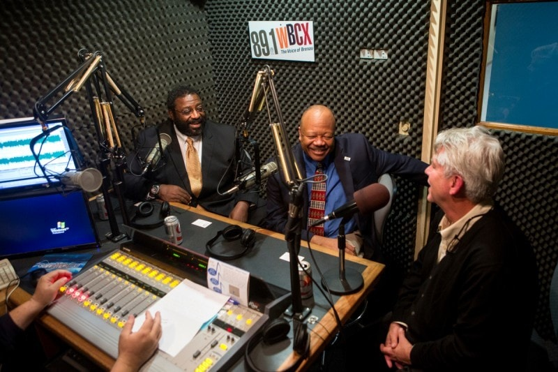 Dr. Frank Glover, one of the world's leading experts on the global Ebola crisis, center left, spoke with Brenau's Jay Andrews, UNG's Dr. Al Panu and David Miller, an associate professor and lead faculty for the Brenau MBA program in health care management, in an interview about the disease on 89.1 WBCX.