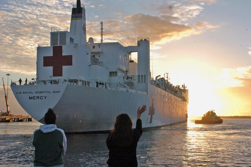 The USS Mercy, heading west from San Diego into the Pacific, is named for the virtue of compassion. It is frequently a pivotal asset to the Navy's deployment of personnel and aide in response to huge natural disasters. (U.S. Navy photo)