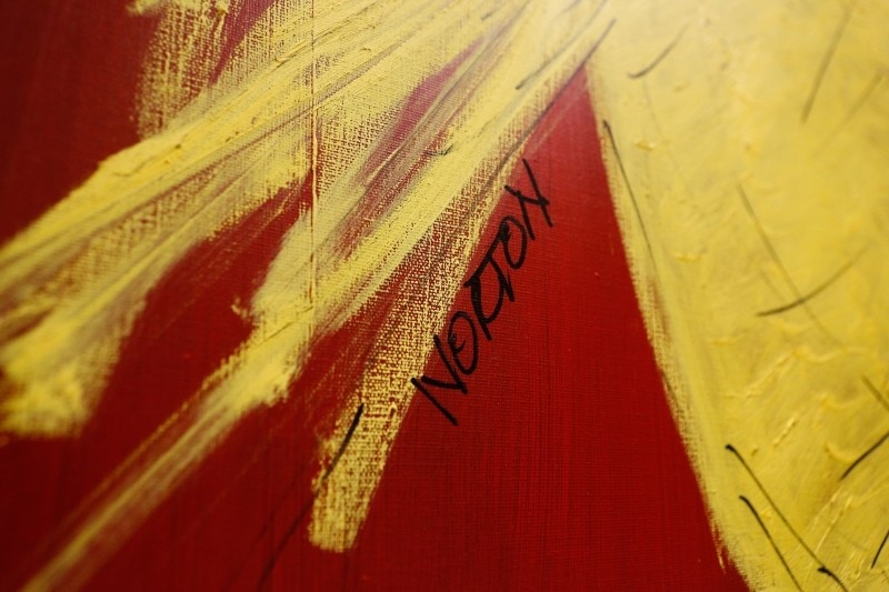 "Detail of Frank Norton Jr.'s signature from his painting ""Isabel Athena."""