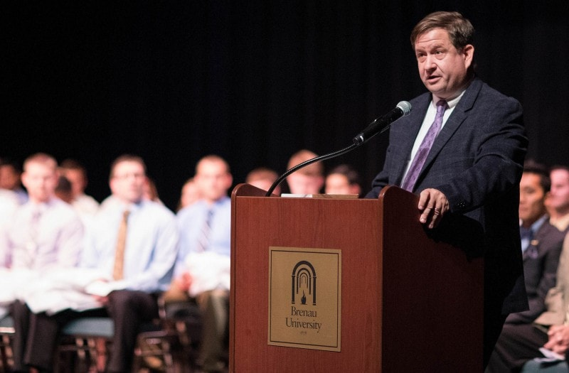 Brenau Provost and Vice President of Academic Affairs James Eck speaks during the White Coat Ceremony for members of the Brenau Doctor of Physical Therapy Class of 2020. (AJ Reynolds/Brenau University)