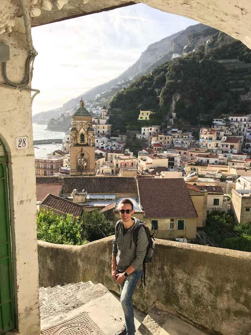 Amalfi, vista panoramica sul campanile del Duomo da Via San Lorenzo del Piano