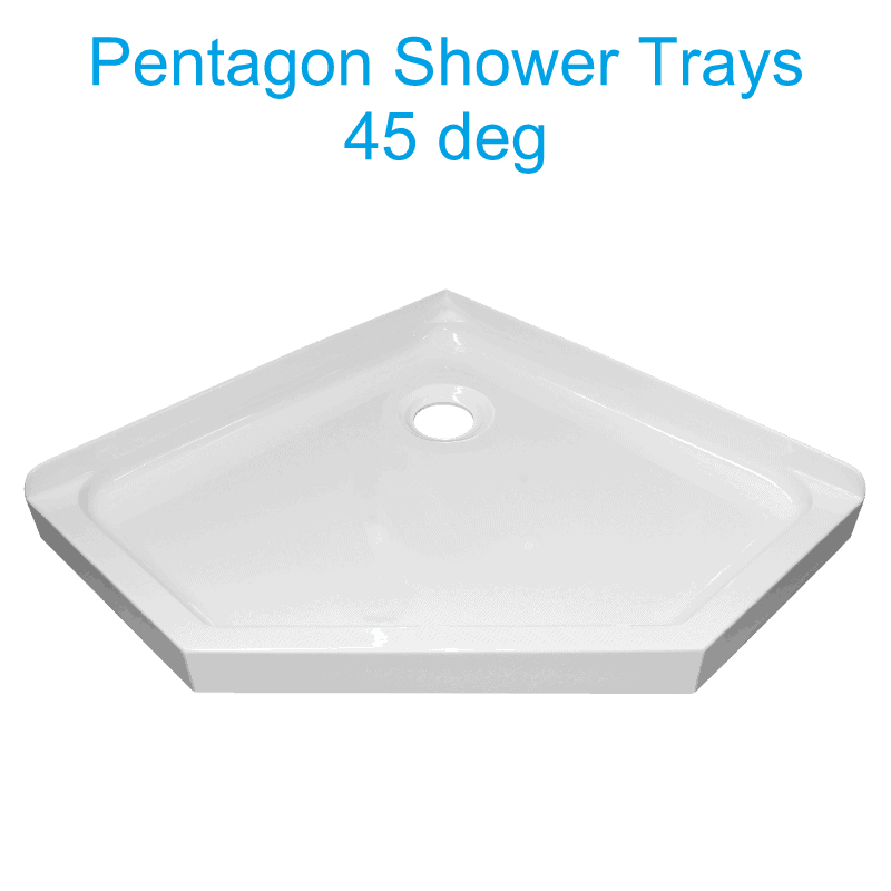 pentagon 45 deg shower tray rear waste Henry Brooks