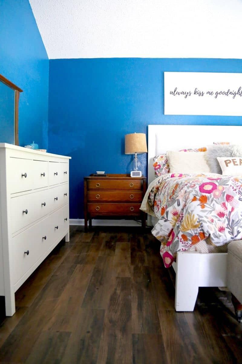 Vinyl plank flooring in the master bedroom