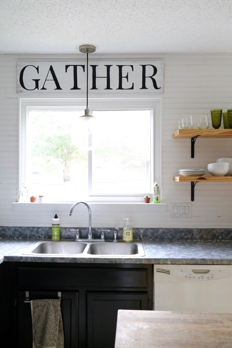 "Wood ""Gather"" sign"