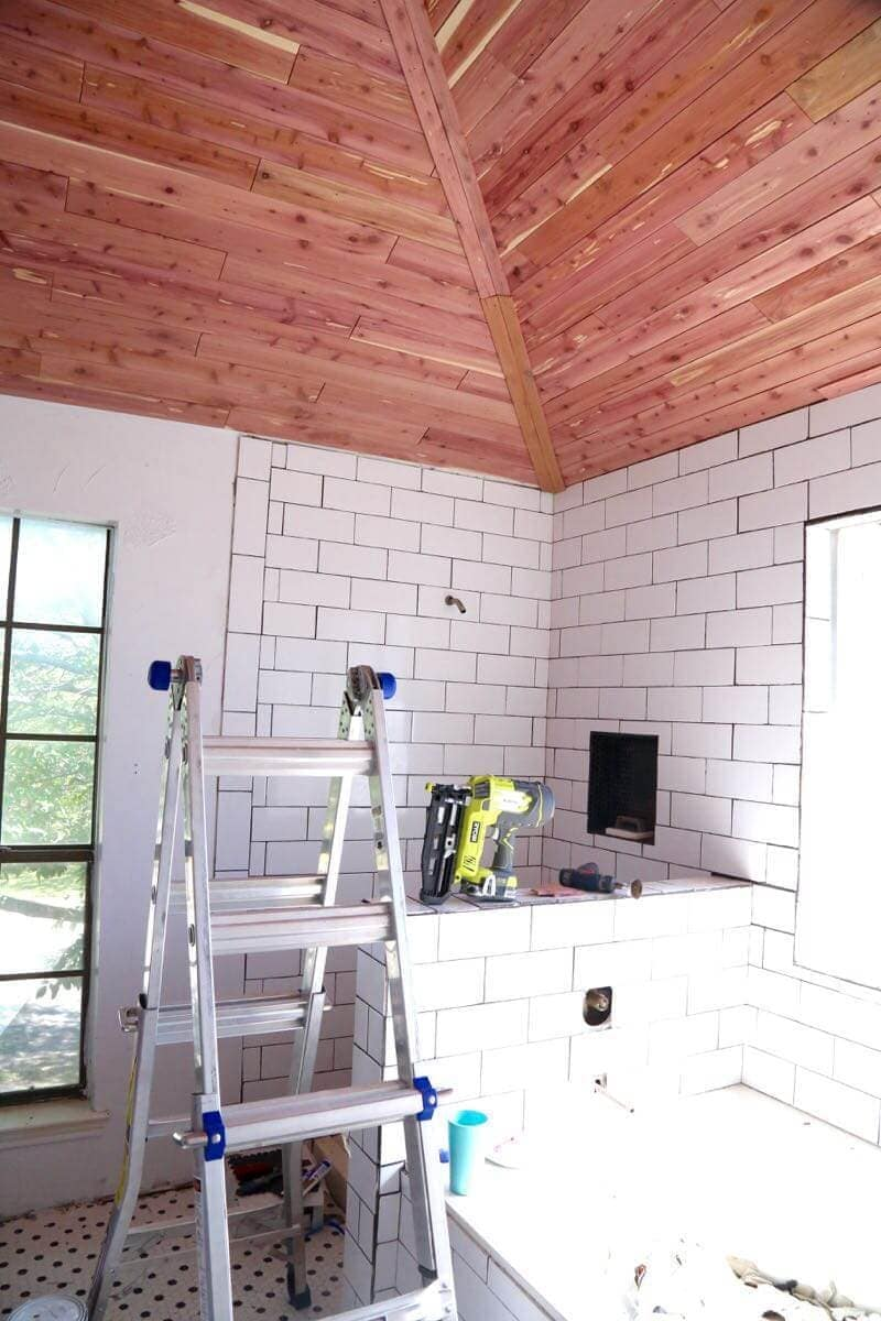 how to install a cedar ceiling