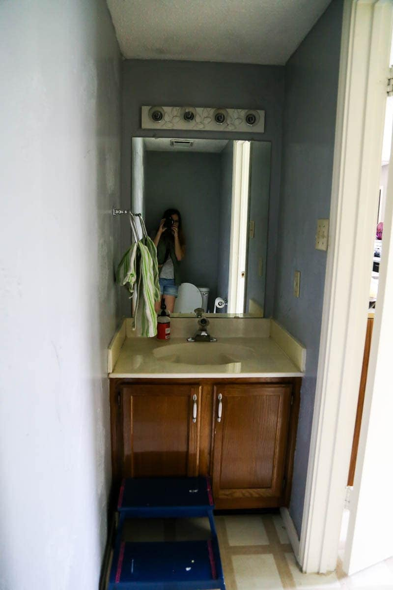 A quick look at the before images of a $100 powder room makeover