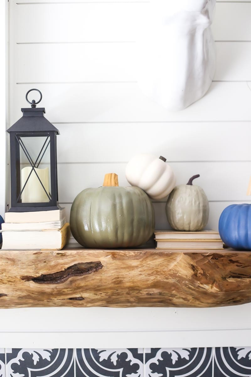 Fall mantel decor - faux pumpkins