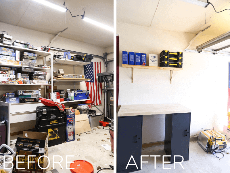 Garage before and after organizing