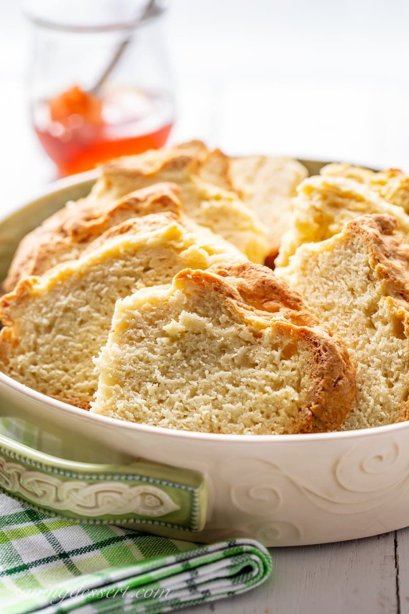 Sliced Irish Soda Bread in a bowl