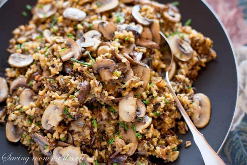 A bowl of wild rice and mushroom pilaf