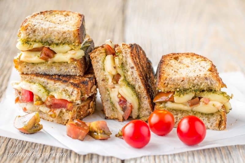 Outdoor Grilled - Grilled Cheese & Heirloom Tomato Sandwich with Pesto