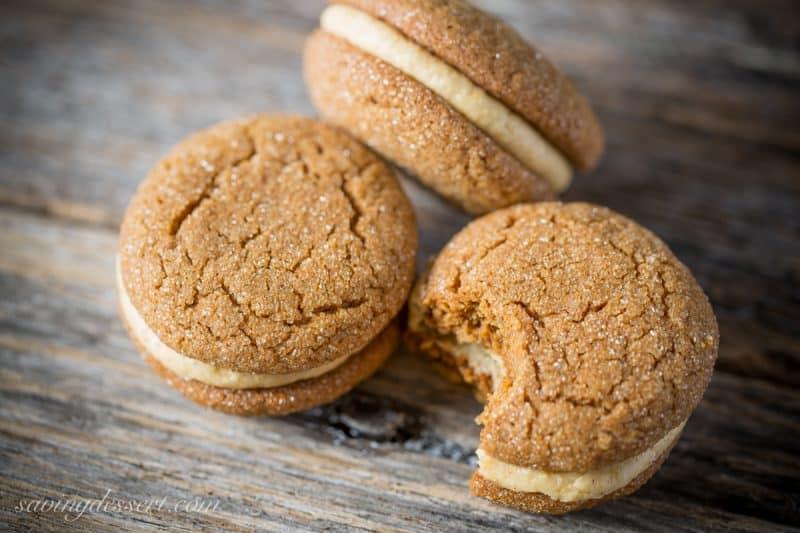 Soft Ginger Molasses Cookies with Pumpkin-Butter Buttercream