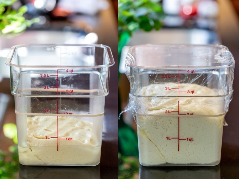 Two containers with homemade sweet rolls dough - one proofed and risen