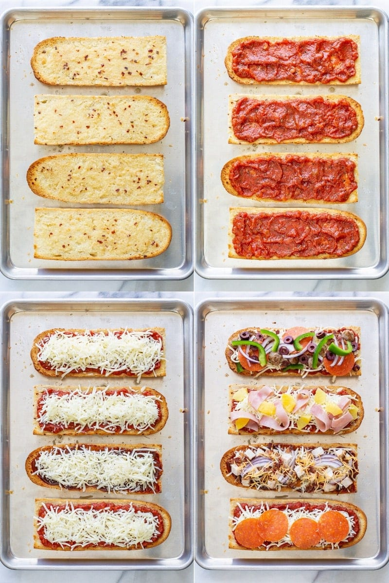 A collage of French bread pizzas buttered and toasted, topped with sauce, cheese and a variety of pizza toppings