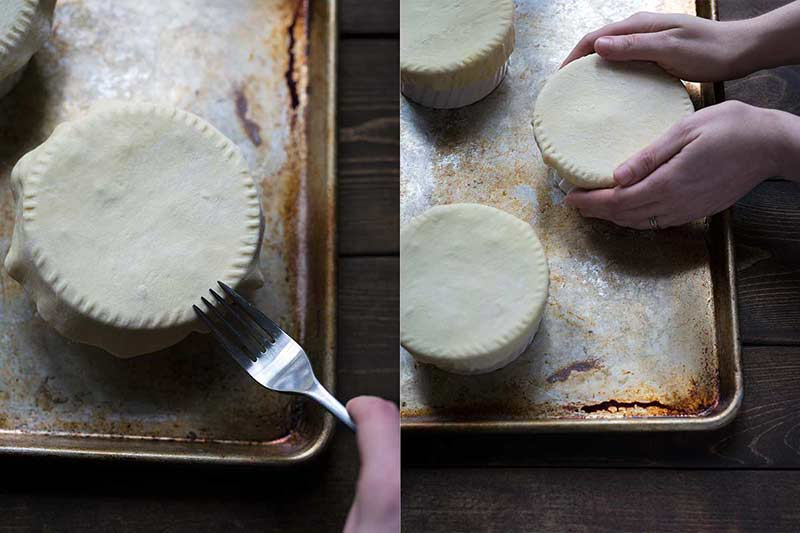 Crimping and shaping dough over ramekin for mushroom pot pie
