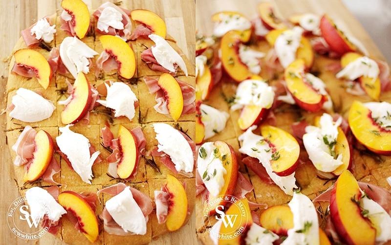 how to make Focaccia Party Bites topped with parma ham, mozzarella and peaches.