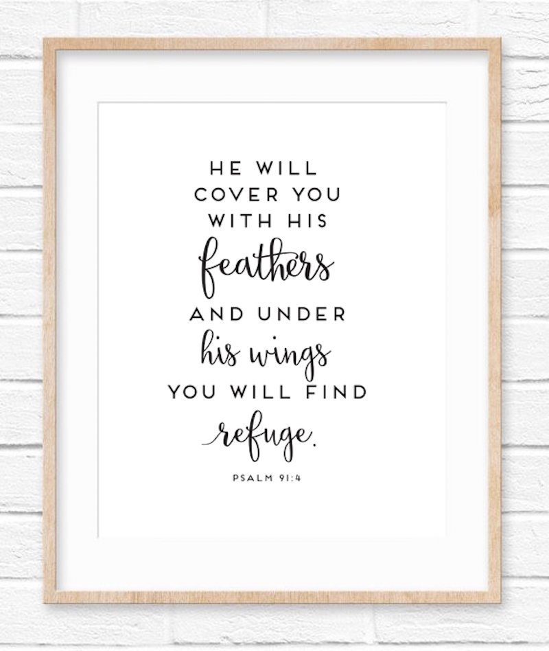 graphic regarding Psalm 91 Printable named Psalm 91:4 Cost-free Printable - Sincerely, Sara D.