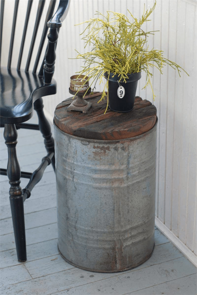 Tin Pail Decor Rustic Front Porch