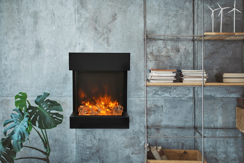 cube shaped 3 sided electric fireplace