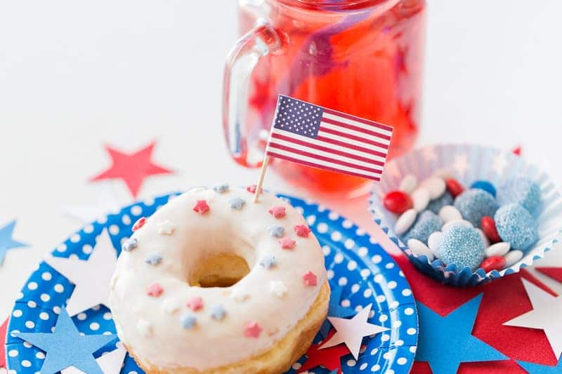 Donut With Juice And Candies On Independence Day