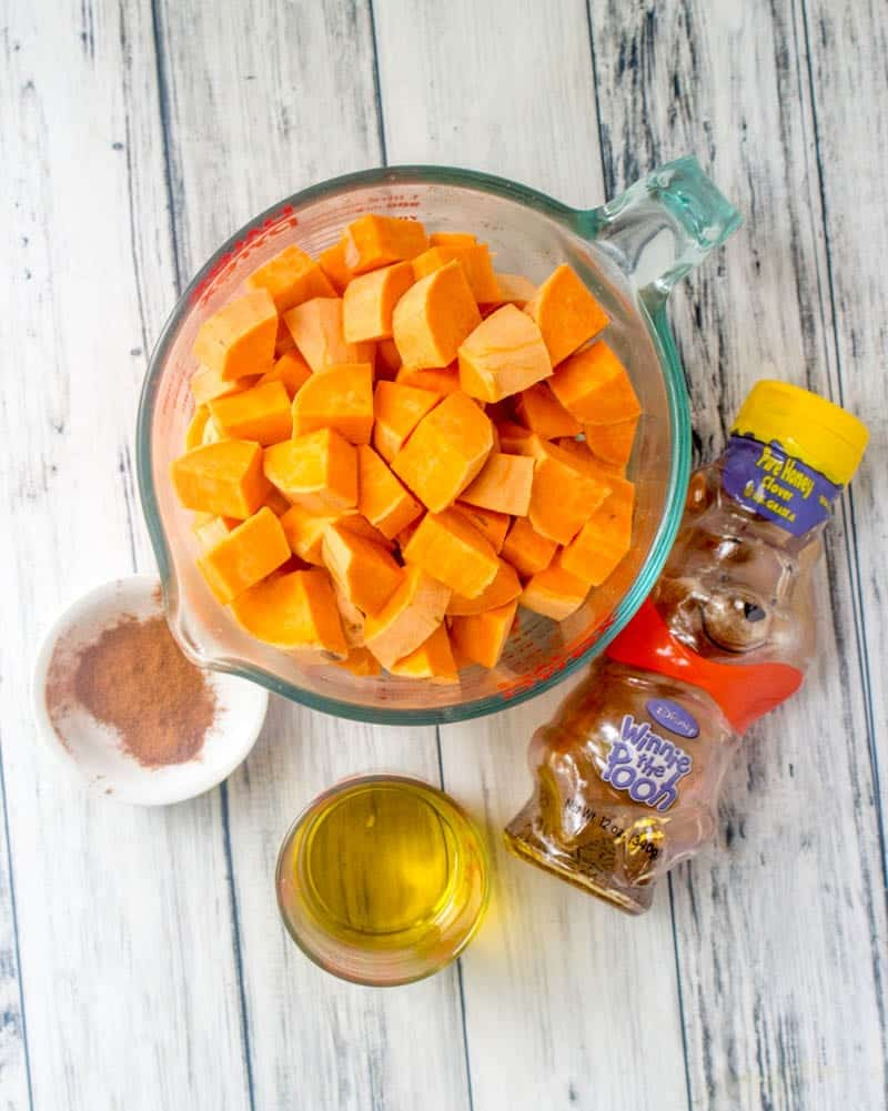 diced sweet potatoes, oil, honey, ground cinnamon