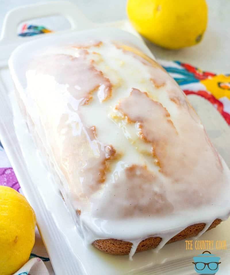lemon glaze drizzled over lemon loaf