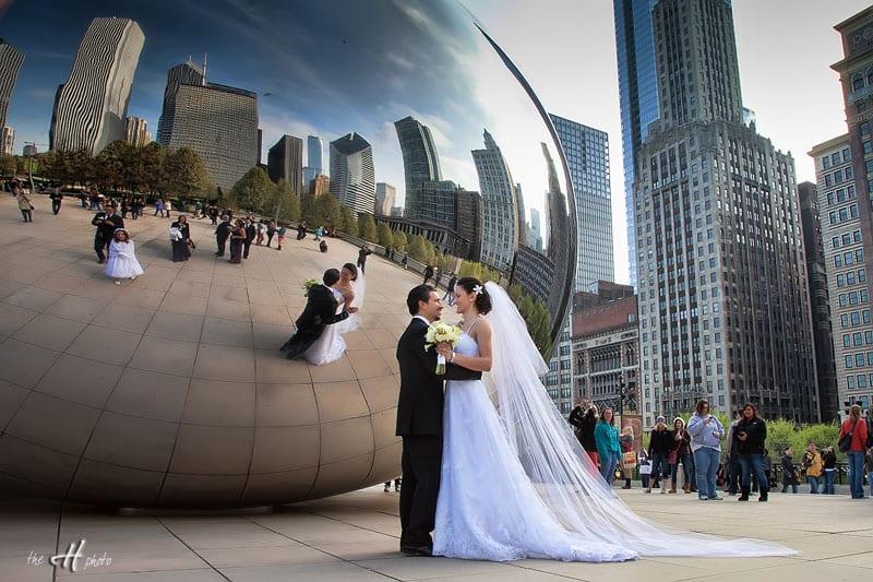 wedding photo at the giant Bean