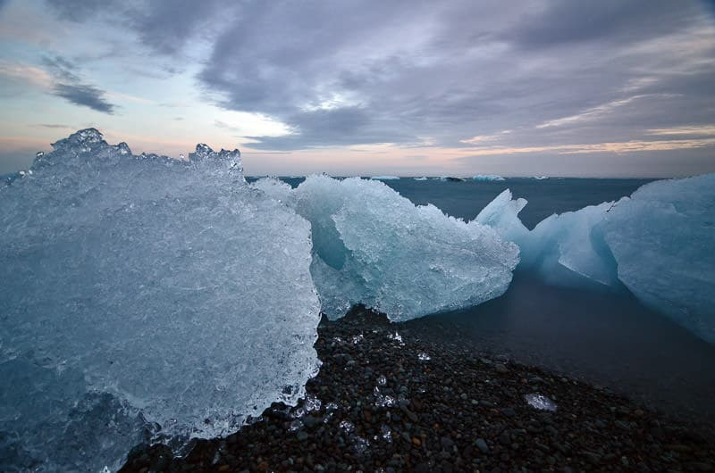 Ice chunks on the black sand beach near the glacier lagoon