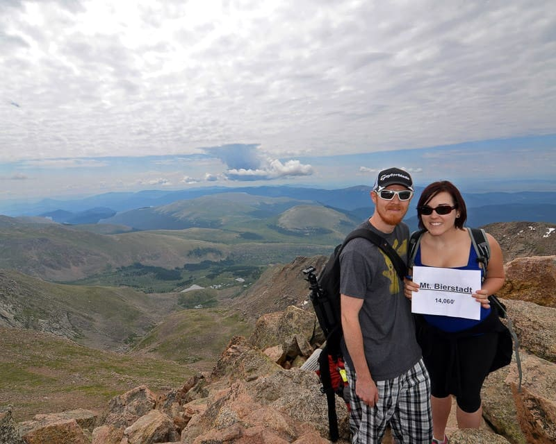 Brooke and Buddy at the Summit of mt. bierstadt in Colorado