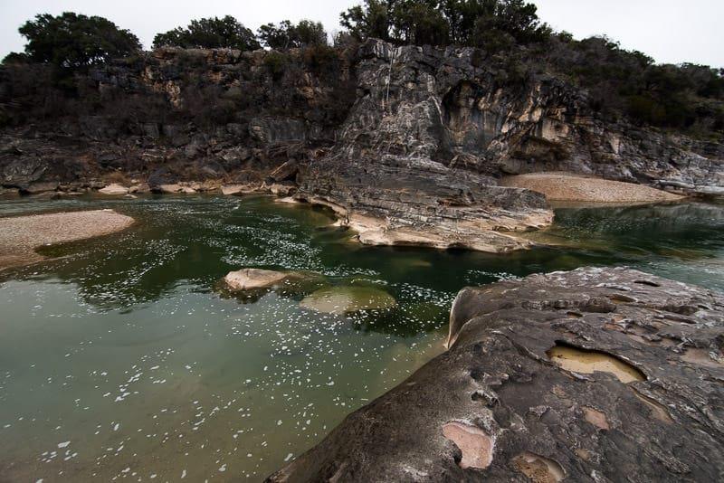 Bright green pools of water at Pedernales Falls State Park