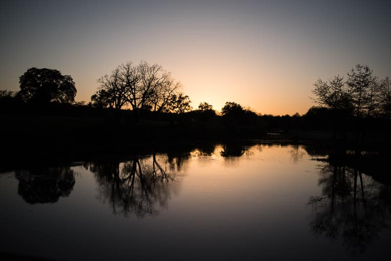 Sunset at by the river RV Park in texas