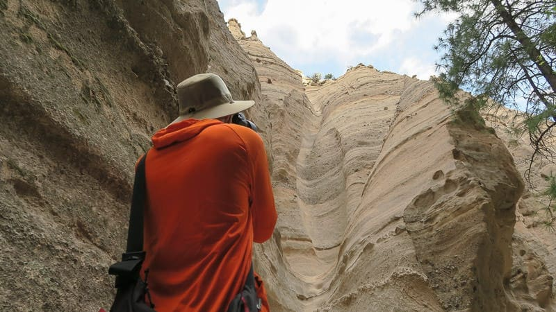Buddy taking photos in tent rocks national monument