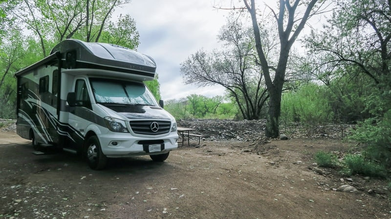 Our Winnebago View parked in the campground at Ojo Caliente