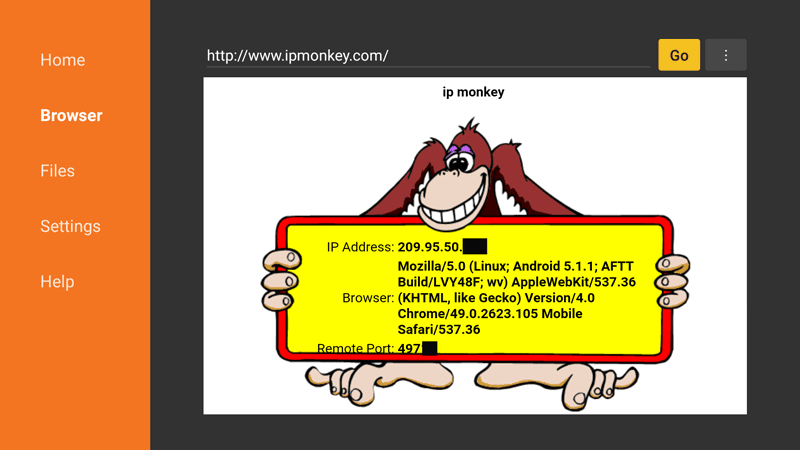 IPMonkey external IP address using Downloader on FireTV Stick
