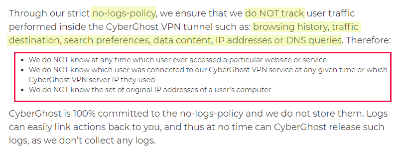 Cyberghost privacy policy regarding VPN logs and IP addresses