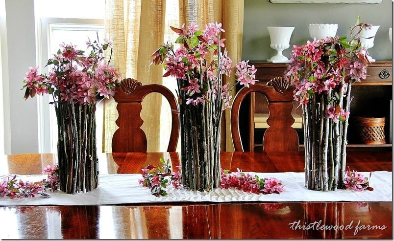How to recreate this wood stick centerpiece
