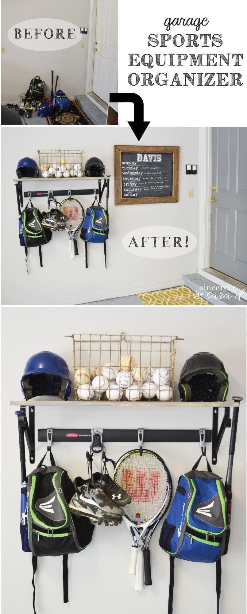 Garage Sports Equipment Organizer